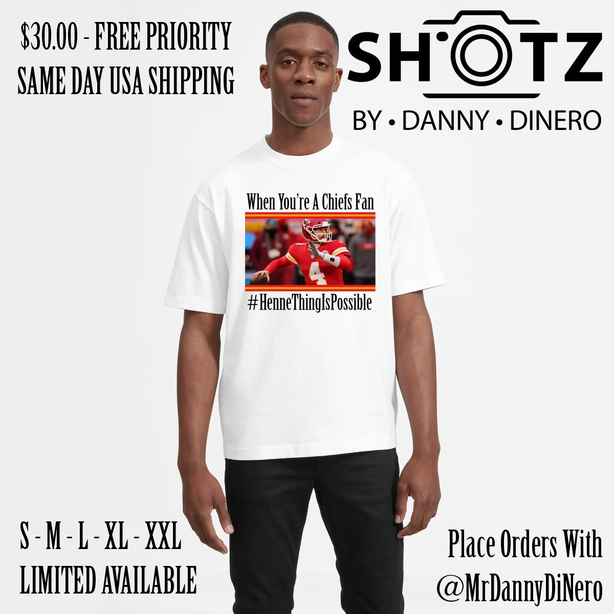LIMITED #HENNETHINGISPOSSIBLE T-SHIRT. $30 INCLUDES PRIORITY USA SHIPPING. ALL SIZES AVAILABLE.  GET YOUR @CHIEFS GEAR NOW FOR KICK-OFF NEXT WEEKEND. ORDER TODAY. SHIPS TODAY. CONTACT @MRDANNYDINERO FOR ORDERS.