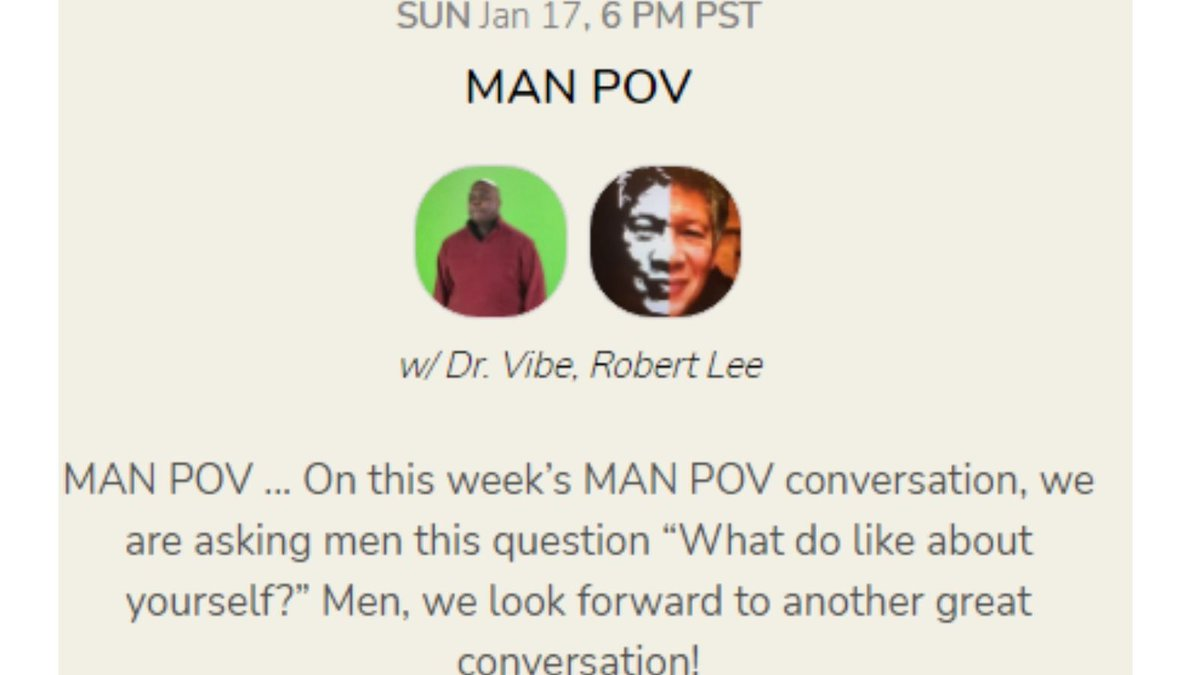 """Looking forward to hosting the conversation """"Men ... What do you like about yourself?"""" live tonight via audio 9 p.m. Eastern/6 p.m. Pacific at @joinClubhouse  Men ... come join us!! #DrVibe #men #manhood #masculinity #selfconfidence #selfcare #selflove #self #selfcaresunday"""