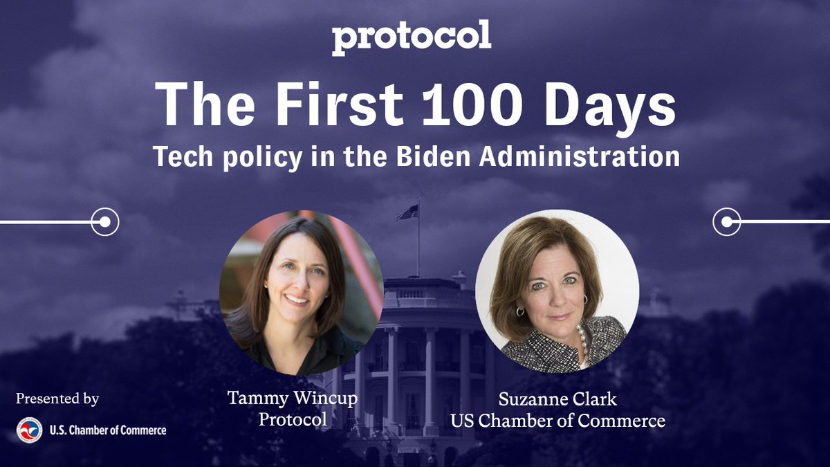 Wednesday is Inauguration Day. How will the transition of power impact the world of tech?  On Tuesday at 12 pm ET,  join @tmwincup and @USChamber president @SuzanneUSCC as @protocol leads us through this moment and beyond.   RSVP: https://t.co/ClPXiQ8j7L https://t.co/cp9XvBu1BQ