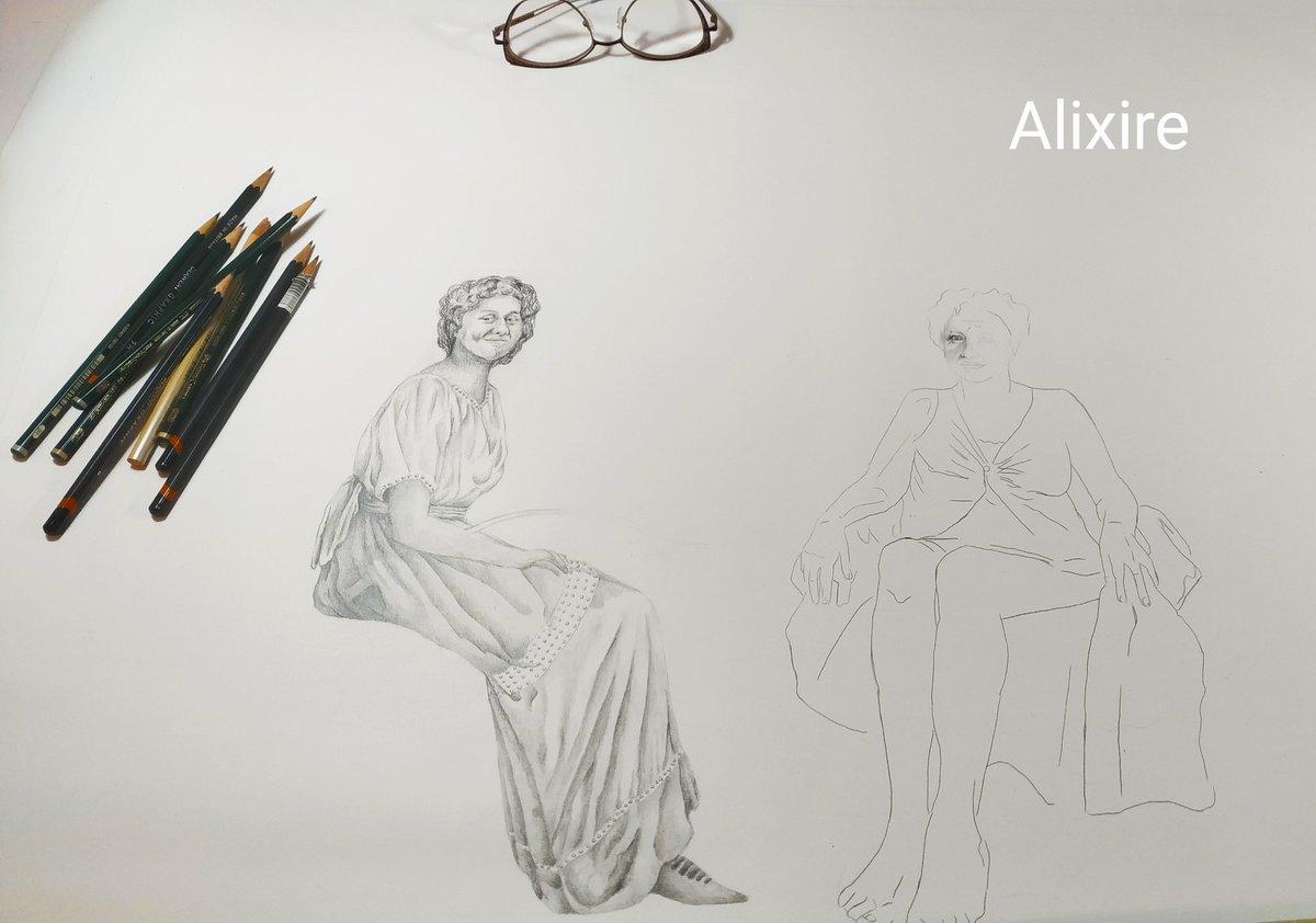 Une nouvelle aventure commence !!! Crayon graphite sur toile libre. #artdrawing #workinprogress #women #atelierdartiste #alixire #femme #blackandwhite #dessincontemporain