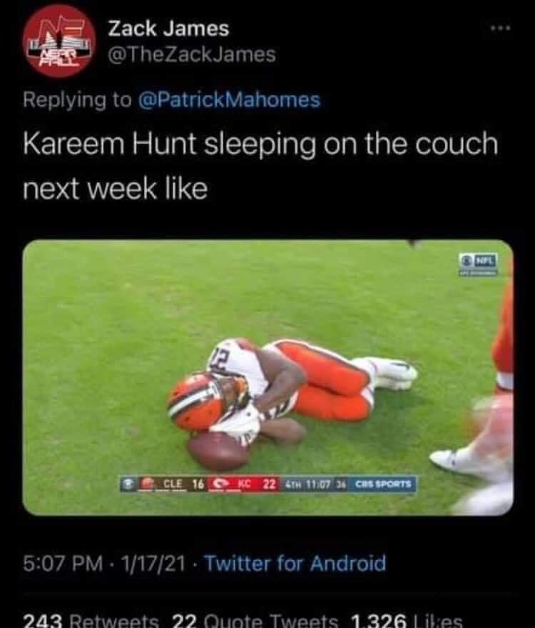 And we took that personally @Kareemhunt7 😂😂😂🤷🏻♂️ #CHIEFSKINGDOM #Browns  #CLEvsKC