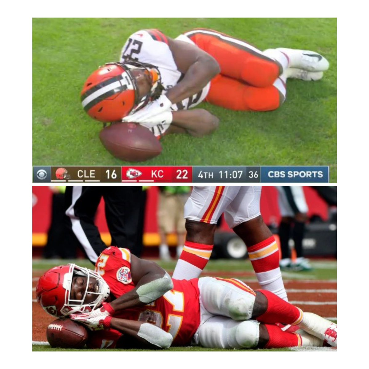 """Kareem Hunt """"Stop sleeping on me"""" 2021 vs 2017. I knew this looked familiar. #CLEvsKC #chiefs #browns"""