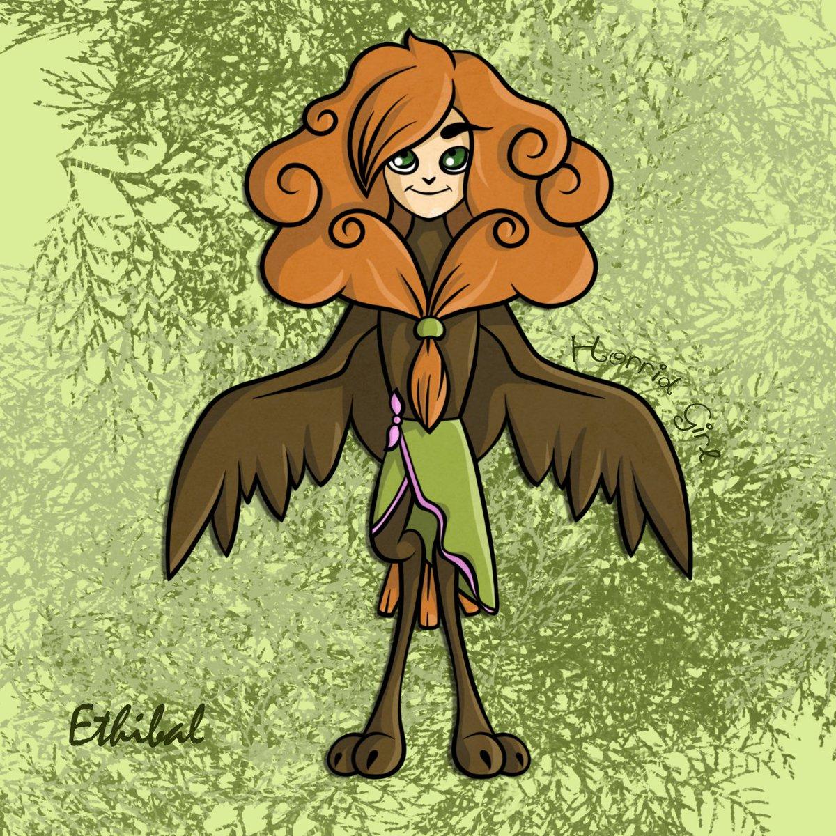 A character I made in school for concept art 😃 Ethibal, a young birdgirl, daughter of the dead King of the woods #bird #birdperson #cute #king #princess #birdprincess #conceptart #art #digitalart #hawk #sky #magic