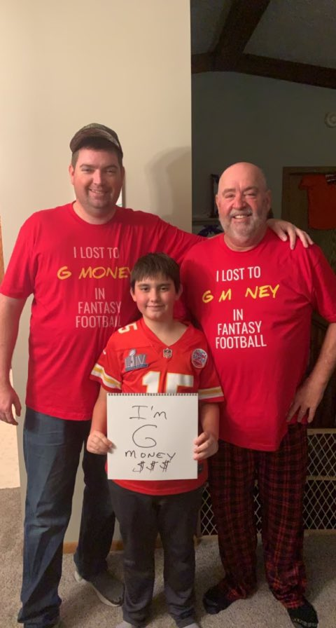 @MatthewBerryTMR Loser had to wear these shirts to every Chiefs watch party, #hennethingispossible so it looks like we have to wear them again next week!