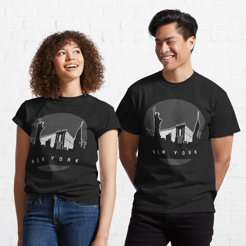 New York Skyline Classic T-Shirt Buy Here:  #redbubble #traveltravelamerica #skyline #cityscape #newyork #newyorkcity #ilovenewyork #nyc #newyorker #ny #iheartnewyork #ilovenyc #iloveny