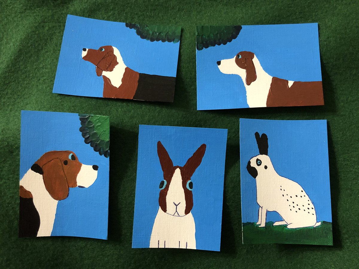 Five paintings that I finished today: two American Foxhounds, a Beagle, a Dutch Rabbit, and an English Spot. 🐶🐰 #dog #bunny #rabbit #painting #art