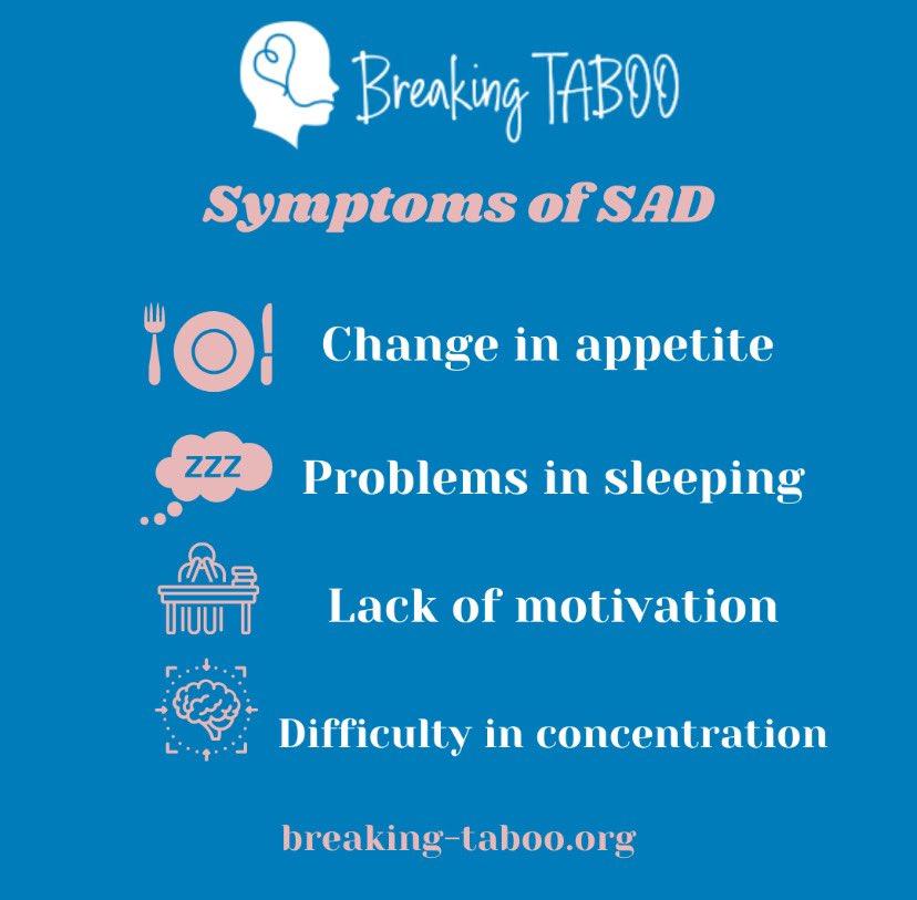 Seasonal Affective Disorder (SAD) symptoms. Have you experienced SAD? #depression #mentalhealth #SundayThoughts