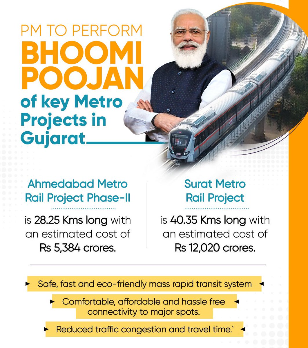 Today is a landmark day for two of Gujarat's leading urban centres. The Bhoomi Poojan of Surat Metro and Phase-2 of the Ahmedabad Metro would take place at 10:30 AM.