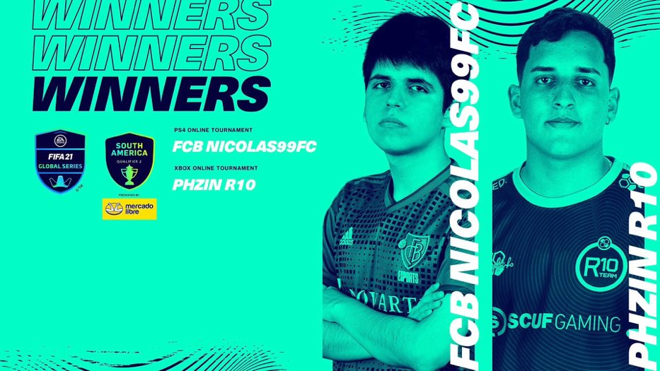Your new South America Champions 🏆 🙌 PS4: @Nicolas99fc 🇦🇷  Xbox: @PHzinR10 🇧🇷   #FGS21