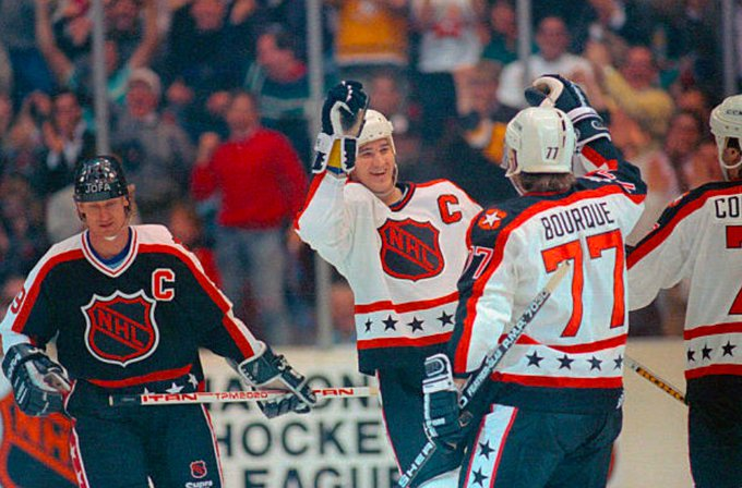 On this day in 1990, Mario Lemieux scored four goals to lead the Wales Conference to a 12-7 win against Campbell Conference at the All-Star Game in Pittsburgh. Lemieux was awarded MVP, becoming the first player to win the All-Star MVP three times #Hockey365 #LetsGoPens