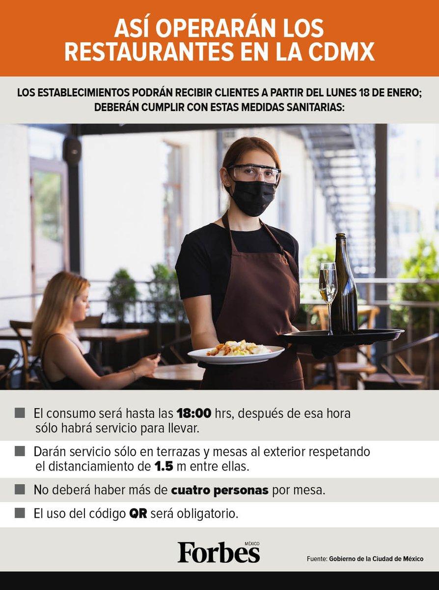 Los restaurantes podrán recibir clientes en espacios abiertos como terrazas o banquetas a partir de este lunes 18 de enero