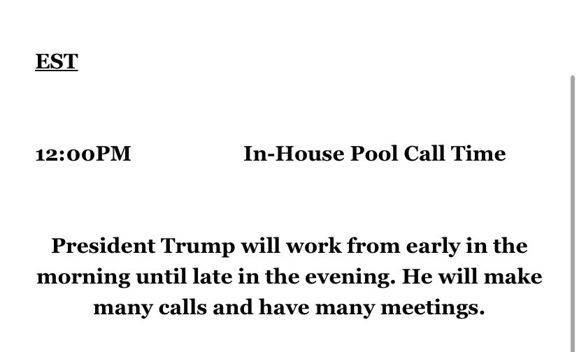 Trump and Biden's schedules for tomorrow. https://t.co/c51fHQCRyS