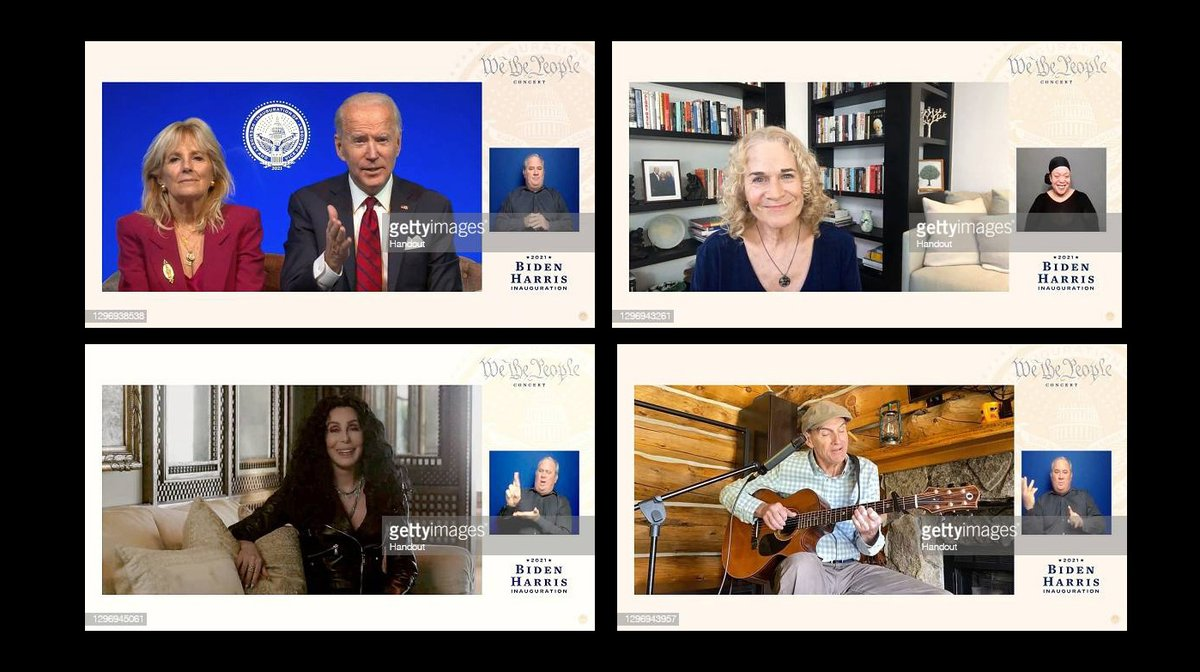 """Cher, Carole King and James Taylor appear on the  """"We The People"""" virtual concert celebrating the 59th Presidential Inauguration.  More 📸 #WeThePeopleConcert 👉 https://t.co/vuxCtgyq2v #Inauguration2021 #Cher #CaroleKing #JamesTaylor @BidenInaugural @cher @JoeBiden @DrBiden https://t.co/4LZnLSzB7C"""