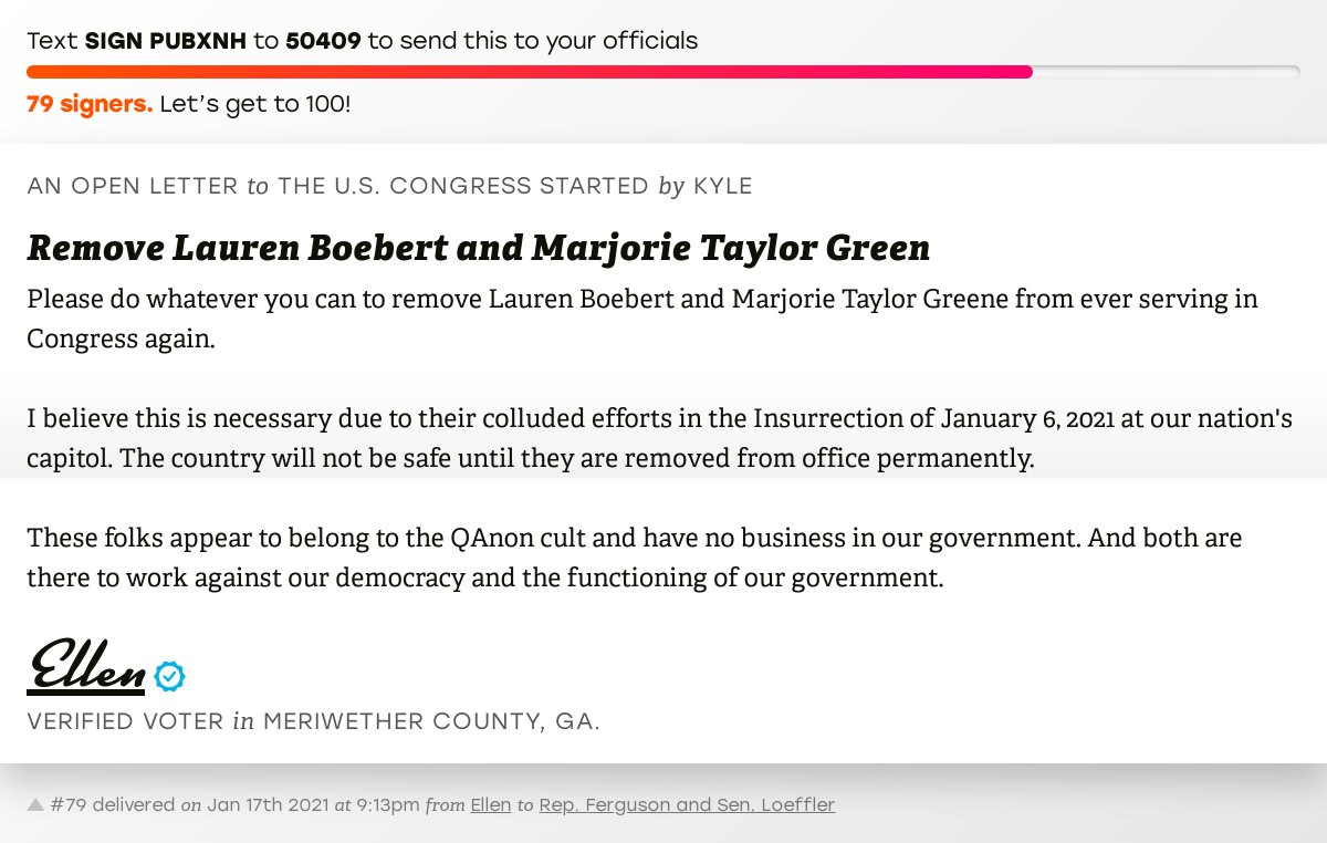 """🖋 Sign """"Remove Lauren Boebert and Marjorie Taylor Green"""" and I'll deliver a copy to your officials:   📨 No. 79 is from @westgapeachpit to @RepDrewFerguson and @SenatorLoeffler #GA03 #GApol"""
