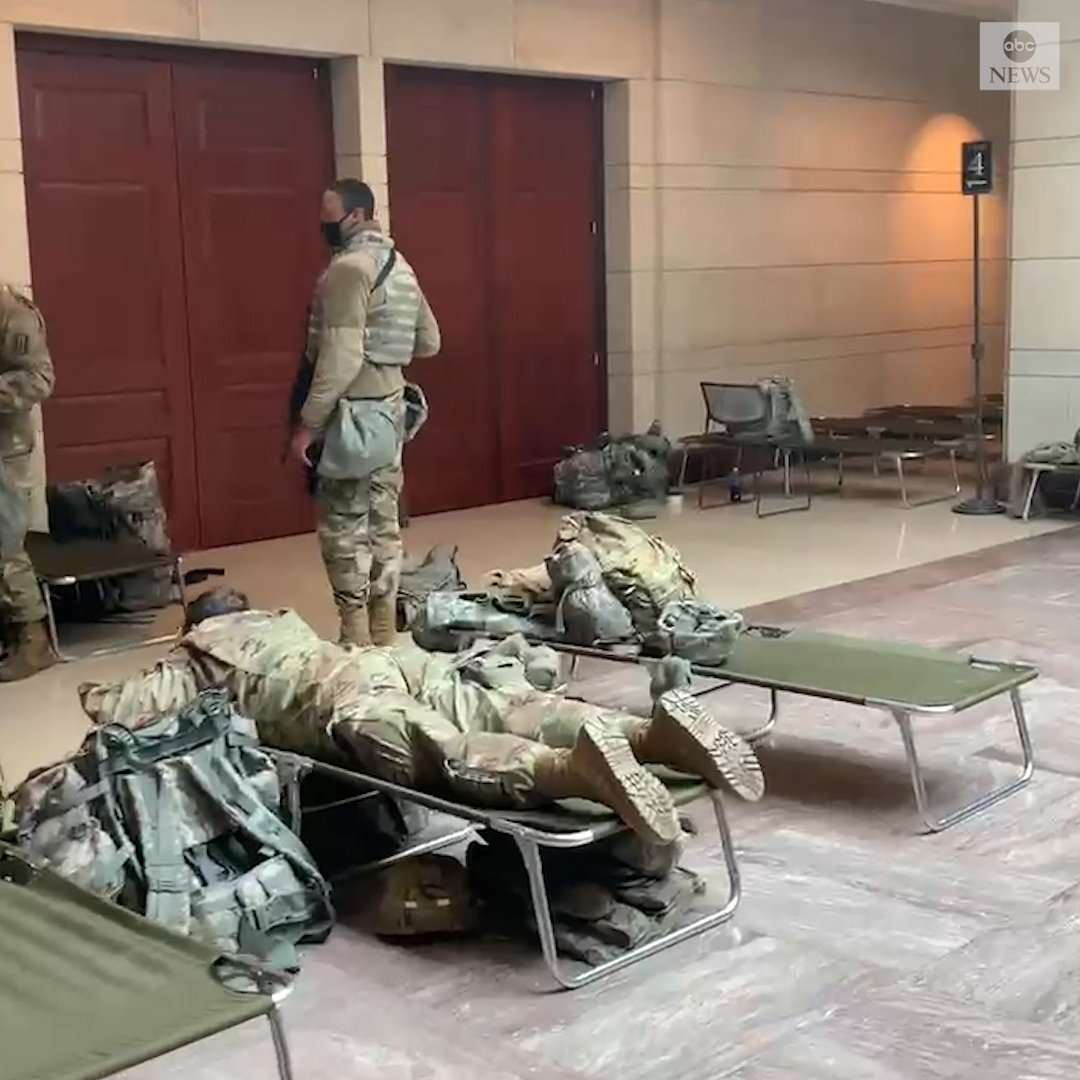 National Guard troops protecting the U.S. Capitol set up cots over the weekend after recent video showed them resting on the floor.