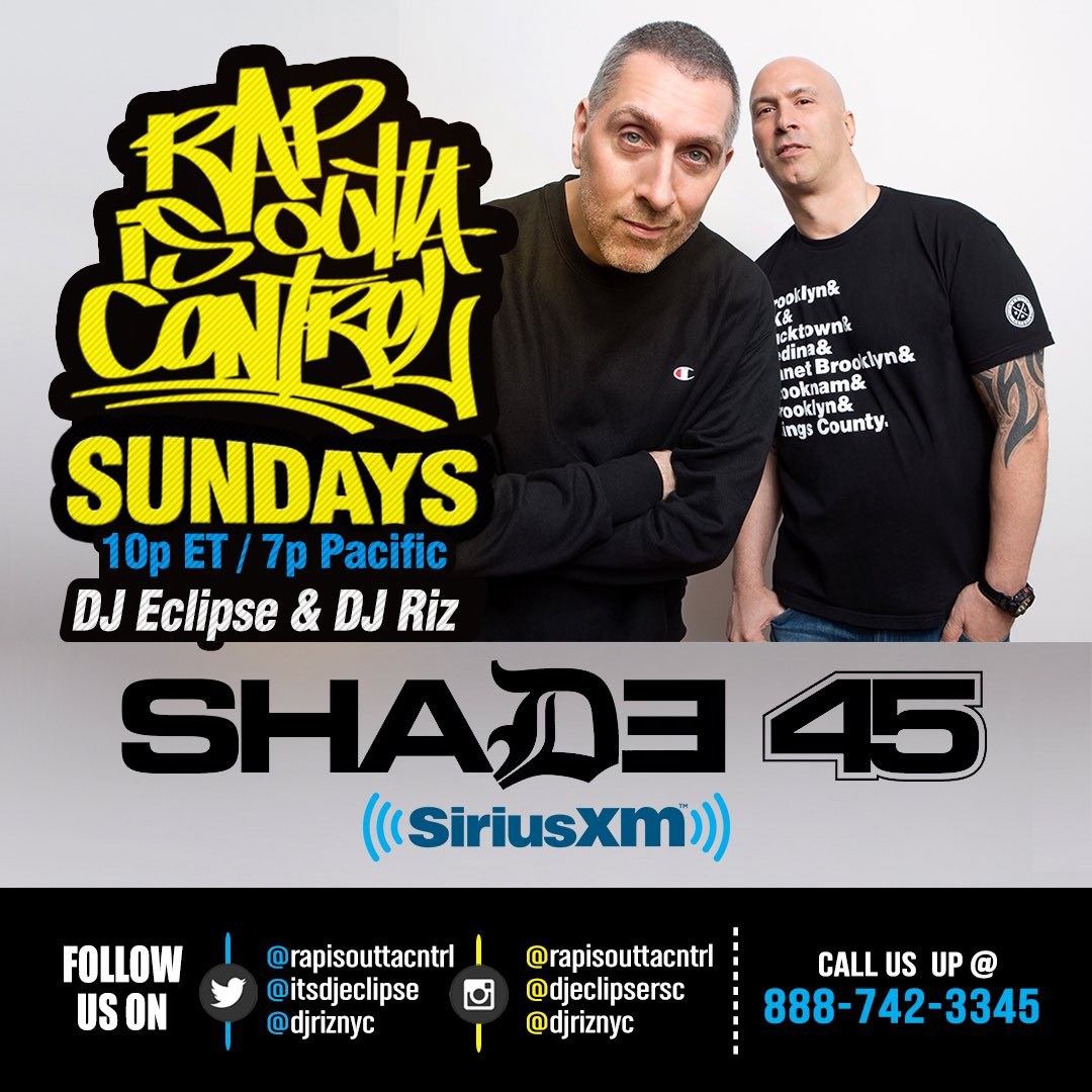 30 minutes away from tonight's episode of @RapIsOuttaCntrl. Tune in at 10pm Eastern / 7pm Pacific to @Shade45 with @ItsDJEclipse & @djriznyc. @thecainmarko on announcements.