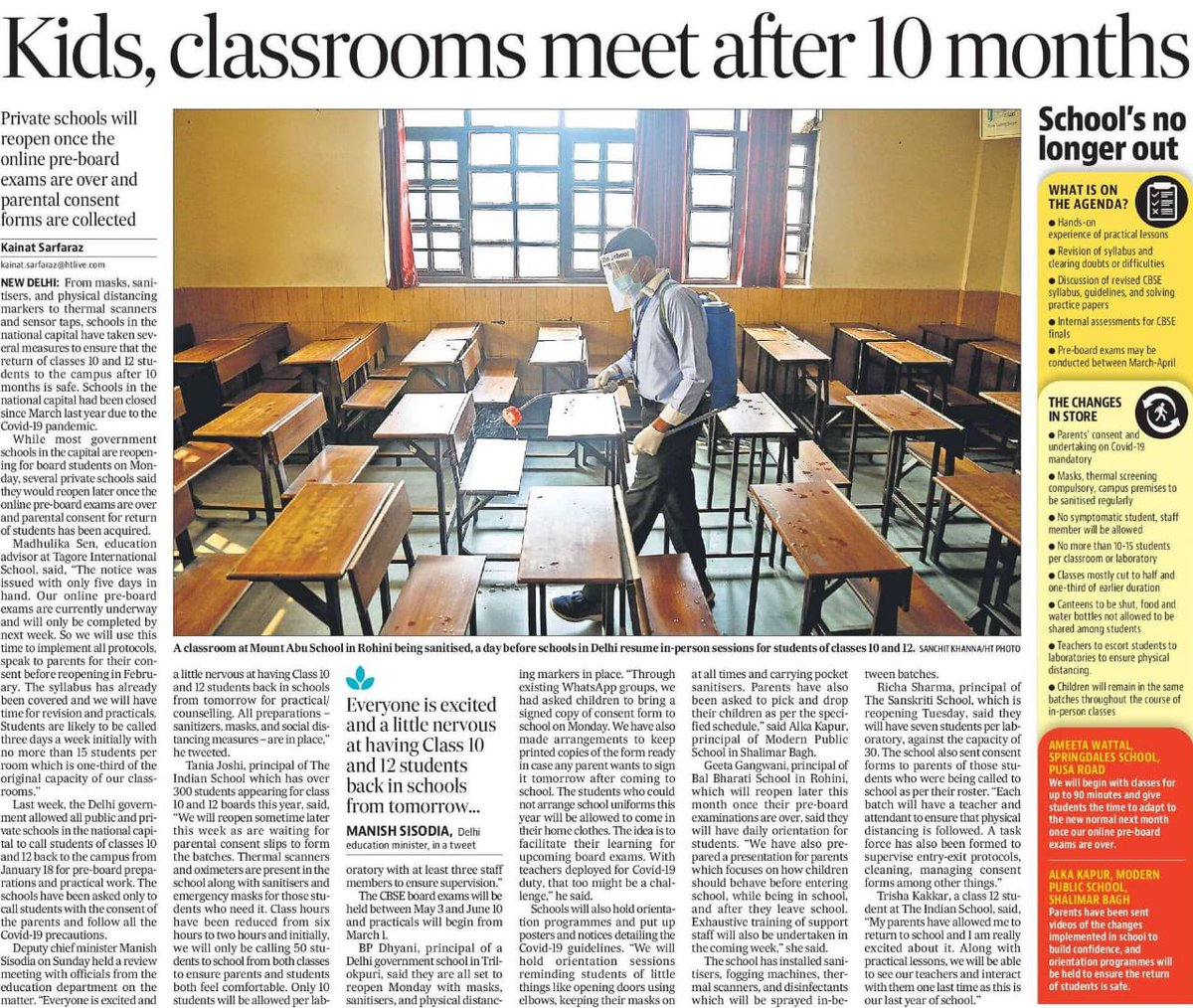 Best wishes to the students of class 10&12th who are going to visit their school today after 10 months...   (though it's only for limited purpose and with covid protocols..) But still...   I am glad that schools are opening in Delhi today.