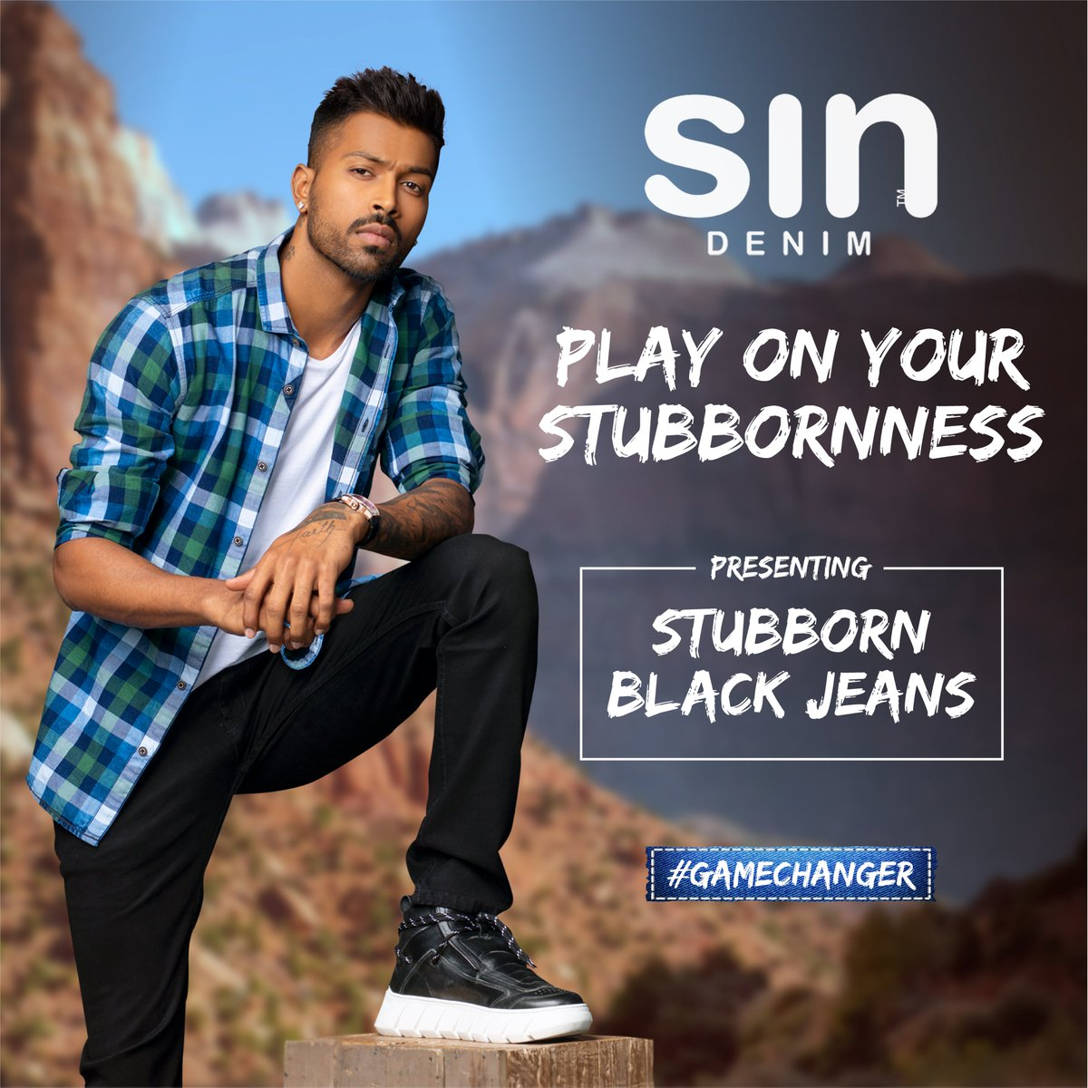 Unleash the blacks, like never before. Presenting the #Gamechanger stubborn blacks from #sindenim. @hardikpandya7  #Sin #SinJeans