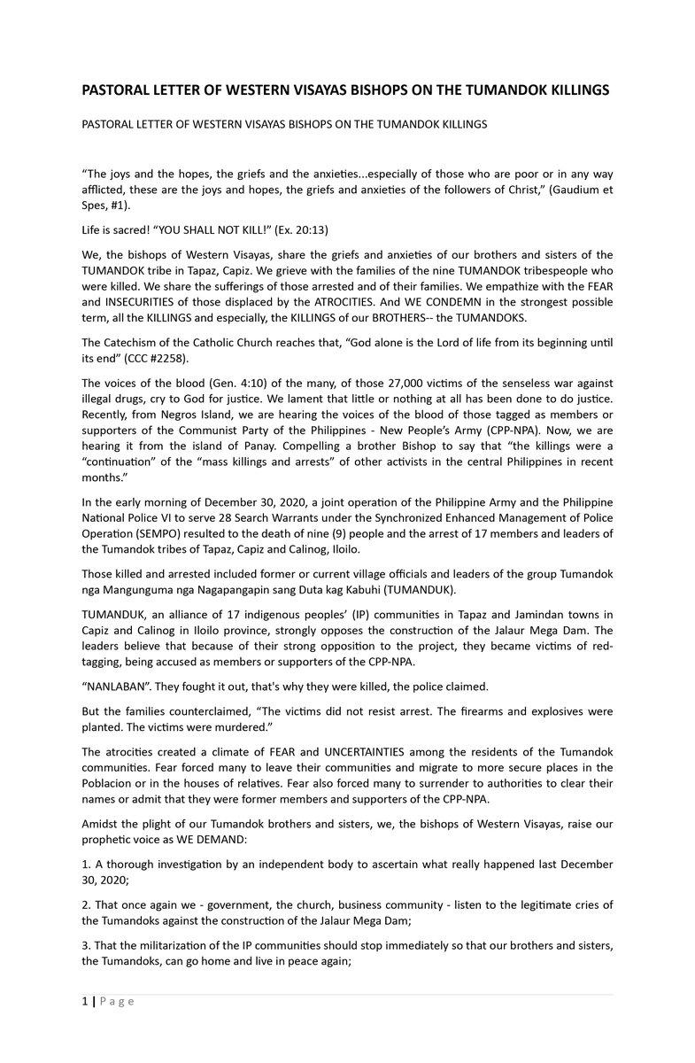 READ: Pastoral letter of Western Visayas bishops on the Tumandok killings #cbcpnews