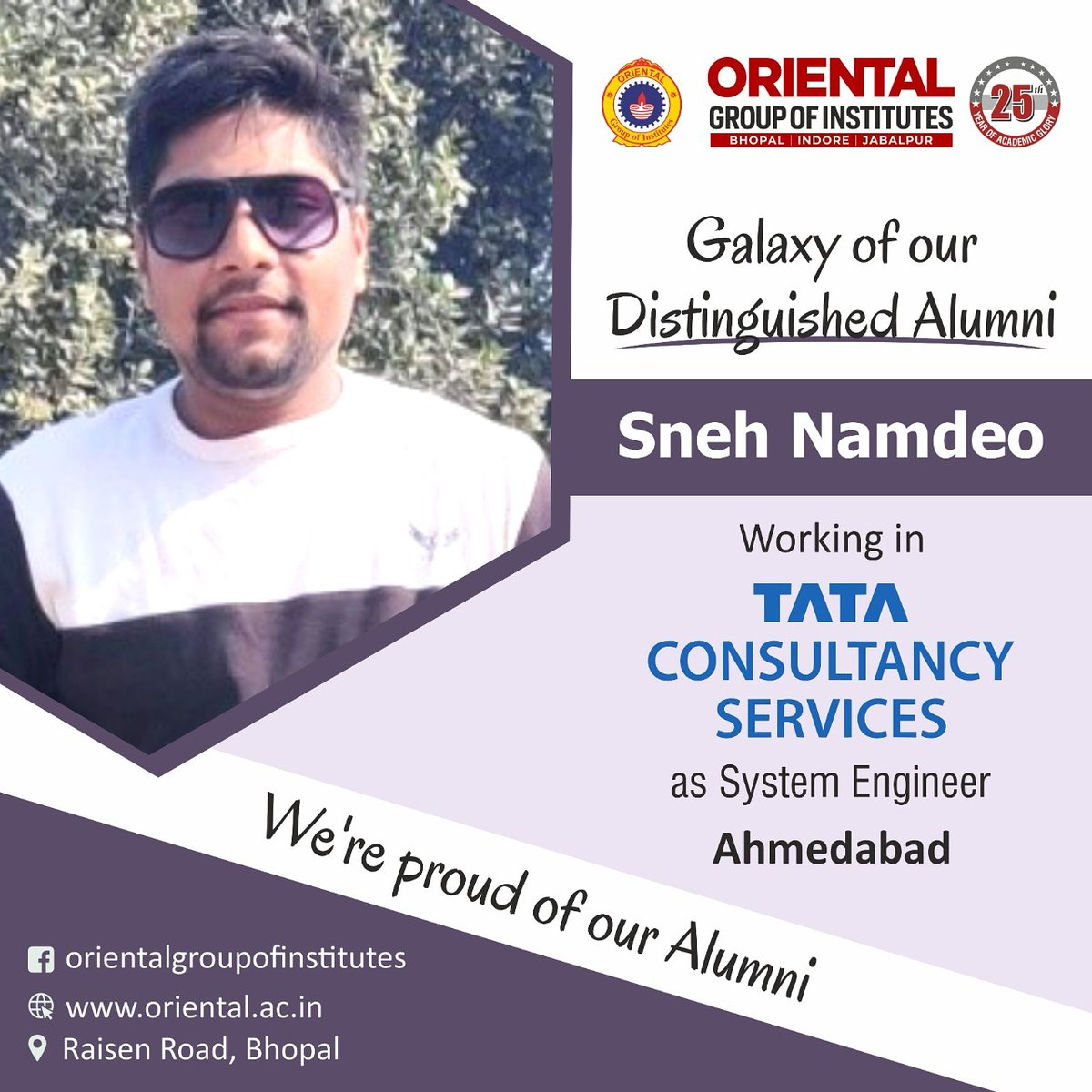 You made us feel #Proud!!! Sneh Namdeo an #alumnus of #OGI working in #TCS as #System Engineer https://t.co/IiGRALm1GS