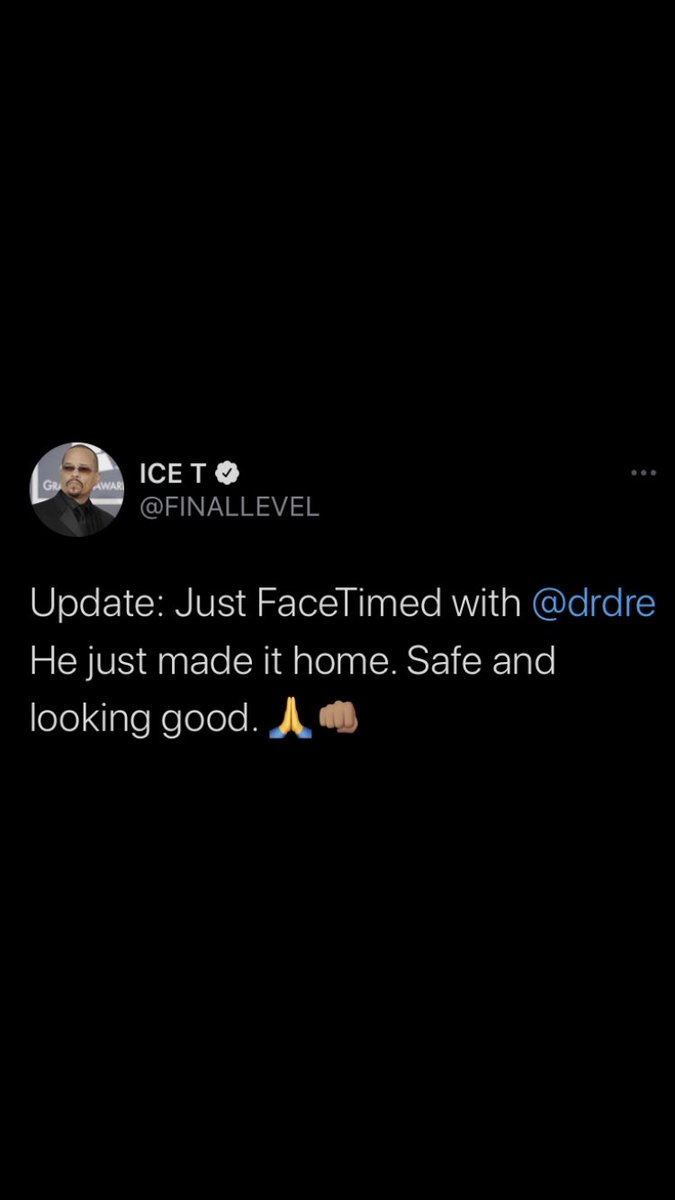 Ice-T gives an update on Dr. Dre 🙏 https://t.co/qTkLAb1u1H