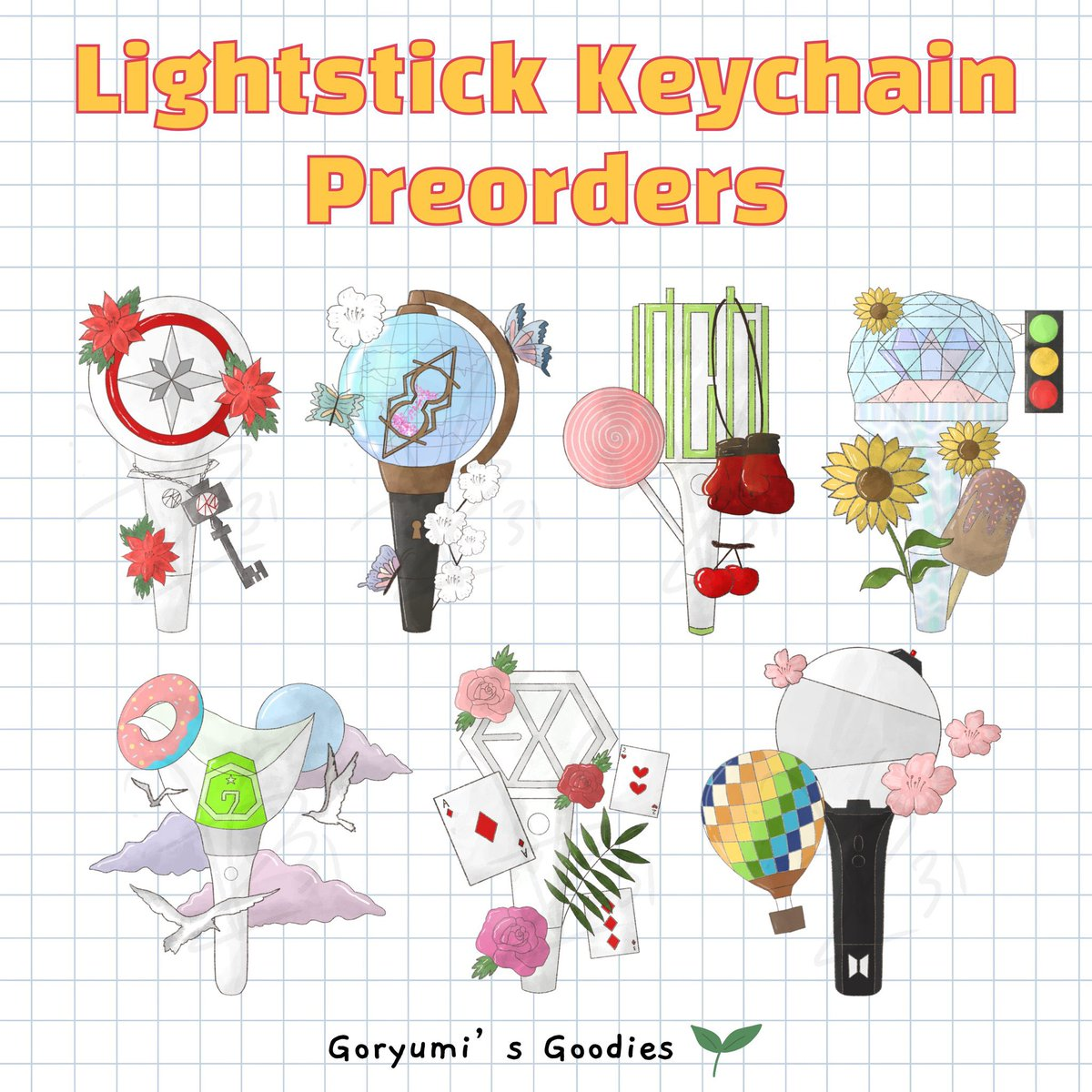 [CAN 🇨🇦 GO] @Goryumi Kpop Lightstick Keychain ; Please RT!  🎏 $6USD/8CAD each 🎏 $40USD/$50CAD per set of 7 🎏 Shipping to CANADA/USA 🎏 Vancouver pickups available 🎏 Needs min 5-10 joiners to proceed! 🎏 CLOSES JAN 20TH 12PM PST