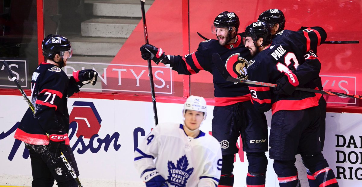 """""""They call it the Battle of Ontario, but it was a misnomer - one team battled, the other team didn't show up for battle...""""  @CraigJButton on how the Leafs keep trying to make games 'a battle of skill rather than will' -   #TSNHockey"""