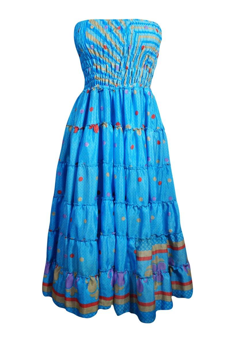 Thanks for the great review ED ★★★★★!  #etsy #blue #m #floral #bohohippie #ankle #sundress #printeddress #womensfashion #straplessdress