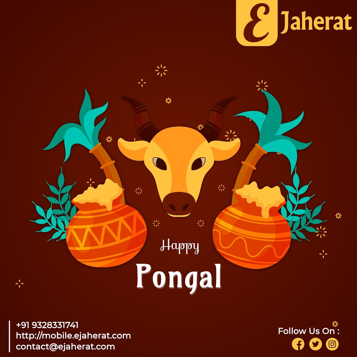 Happy Pongal  #pongal #pongalcelebration #thaipongal #harvest #harvestfestival #tamil #hindu #hindufestival #lordshiva #lordindra #kerala #tamilnadu #eJaherat #socialmedia #nationalday #topicoftheday #festiveseason #festival #graphicdesign #posterdesign #post #postermaker
