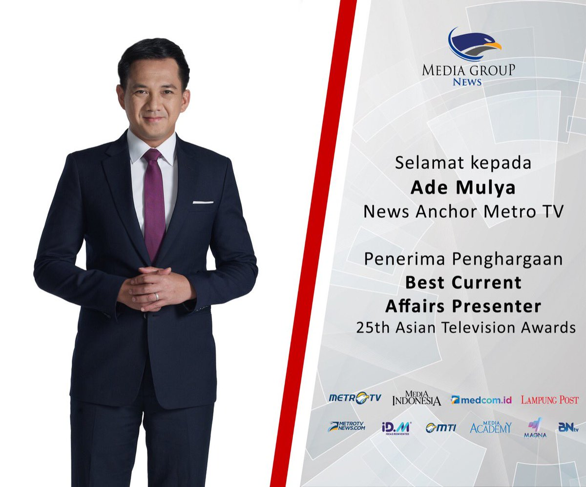 Selamat kepada Ade Mulya (News Anchor Metro TV) penerima penghargaan Best Current Affairs Presenter 25th Asian Television Awards.  #asiantelevisionawards #metrotv #mediagroupnews #knowledgetoelevate