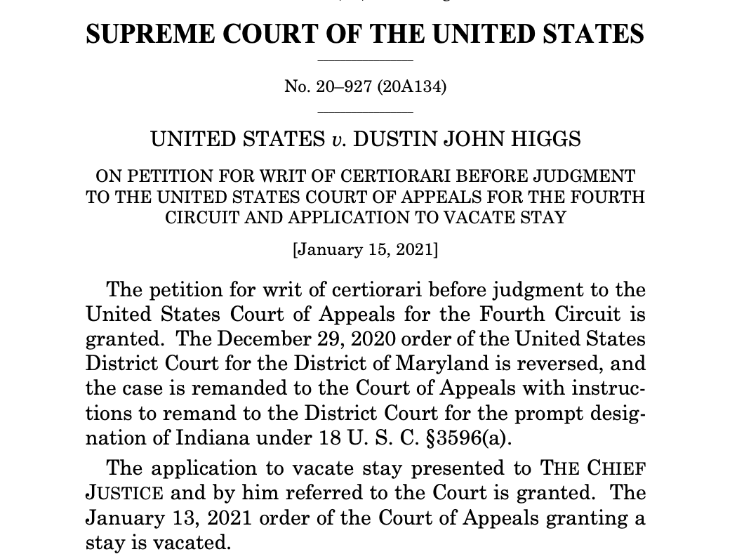 As with other death penalty appeals, the majority's ruling on the Higgs execution came in the form of a brief, unsigned order, with no explanation of the court's reasoning. Both Breyer and Sotomayor wrote dissents explaining why they think the execution should not proceed.