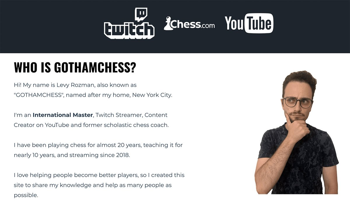 "test Twitter Media - For @GothamChess, ""sharing"" seems to be a driving force in his life: he shares his knowledge, he shares his passion for chess, and now that his Twitch and Youtube channels have given him notoriety, he has used his increasing fame to help others. https://t.co/nAN7goCLUn"