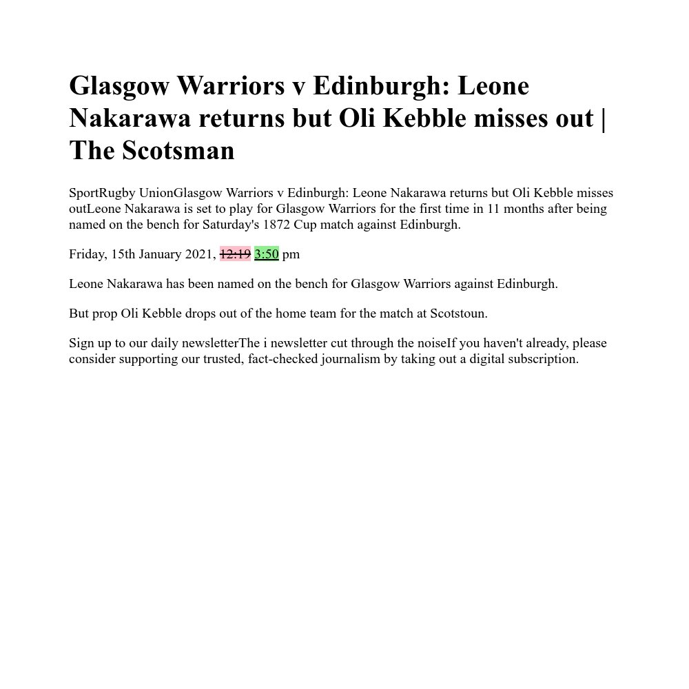 Glasgow Warriors v Edinburgh: Leone Nakarawa returns but Oli Kebble misses out | The Scotsman https://t.co/2RzcK3QQEW https://t.co/lAXg0YNtYF