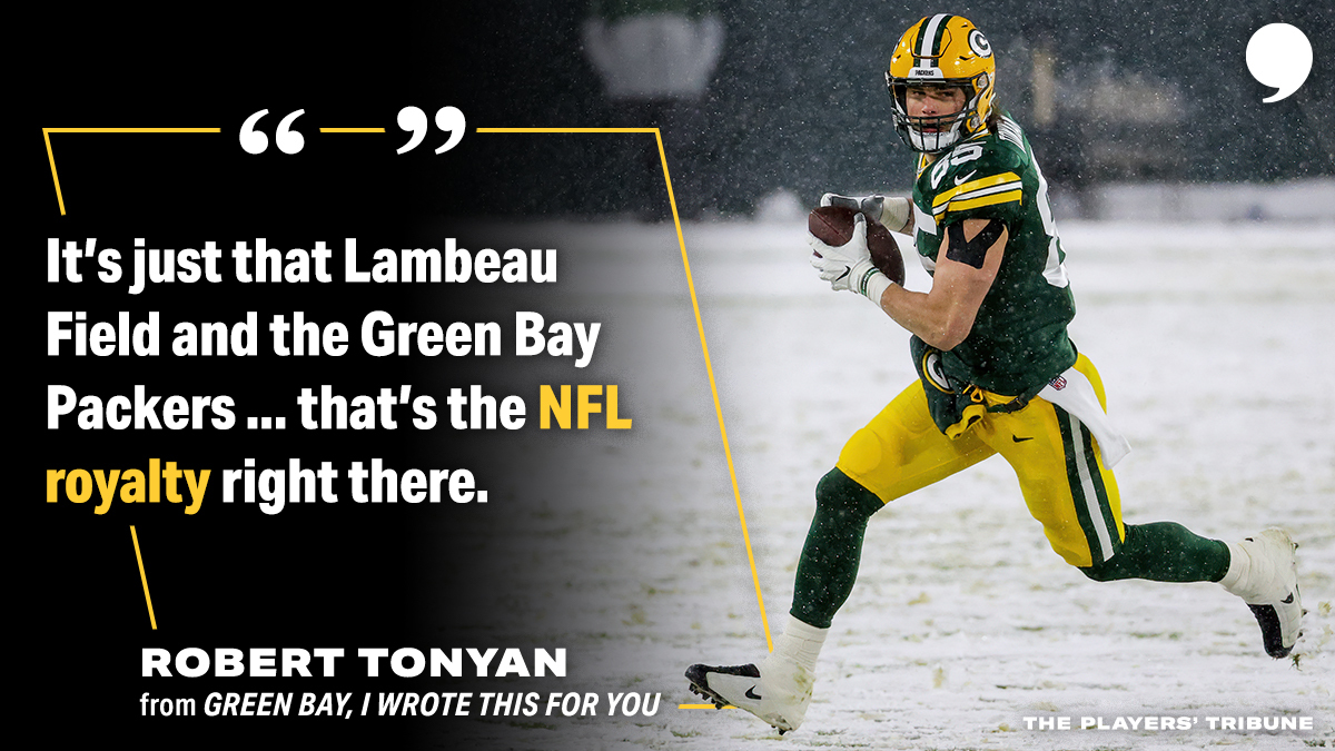 """""""The frozen tundra, all those historic games, that yellow and green. It speaks for itself at this point."""" #GoPackGo   📝:"""