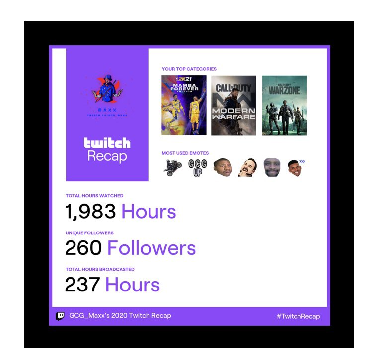 Came to Twitch in June 2020 and all I can say is Thank You to everybody that came to support! Anybody that stopped thru and said Hi! Anybody that Followed! All of you that Subbed! I appreciate ALL OF YOU!! It's only up from here!! #GCGUp #GameChangers #twitchstreamer #TwitchRecap