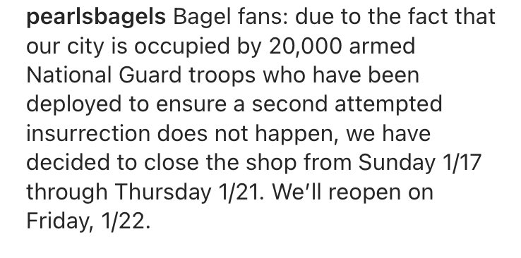 "When friends ask ""how's DC right now?"", will refer them to this totally normal announcement from the local bagel joint"