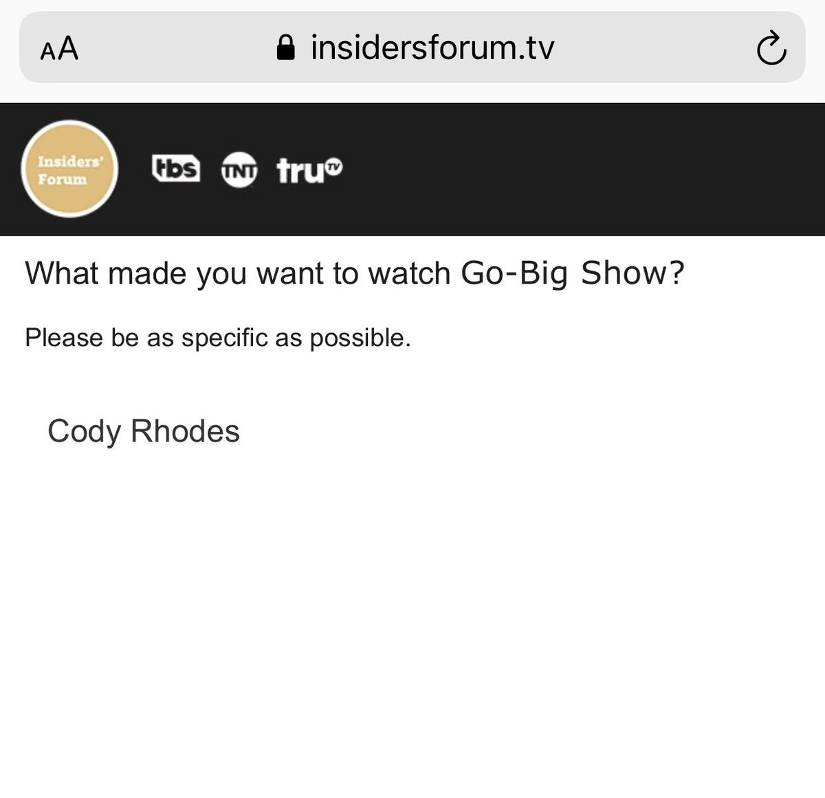 LOVE the show, but I had to be honest about what brought me there! #GoBigShow @GoBigShowTBS   @CodyRhodes = 💰💰💰💰