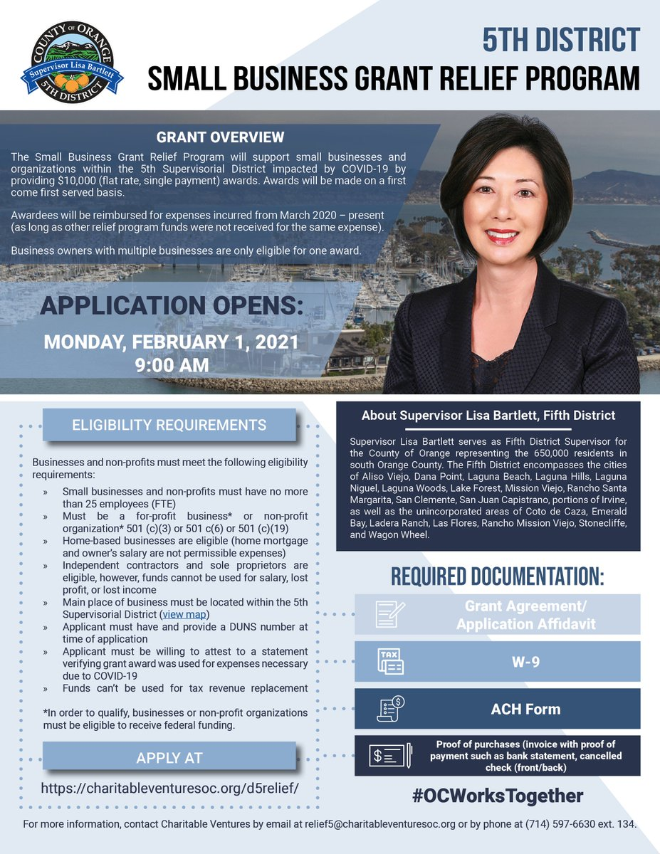 @OCSupBartlett presents the Small Business Grant Relief Program.   Application opens Monday, February 1, 2021 at 9 AM. To learn more and apply, please visit .  For more info, contact @CharVentures: relief5@charitableventuresoc.org (714) 597-6630 ext. 134
