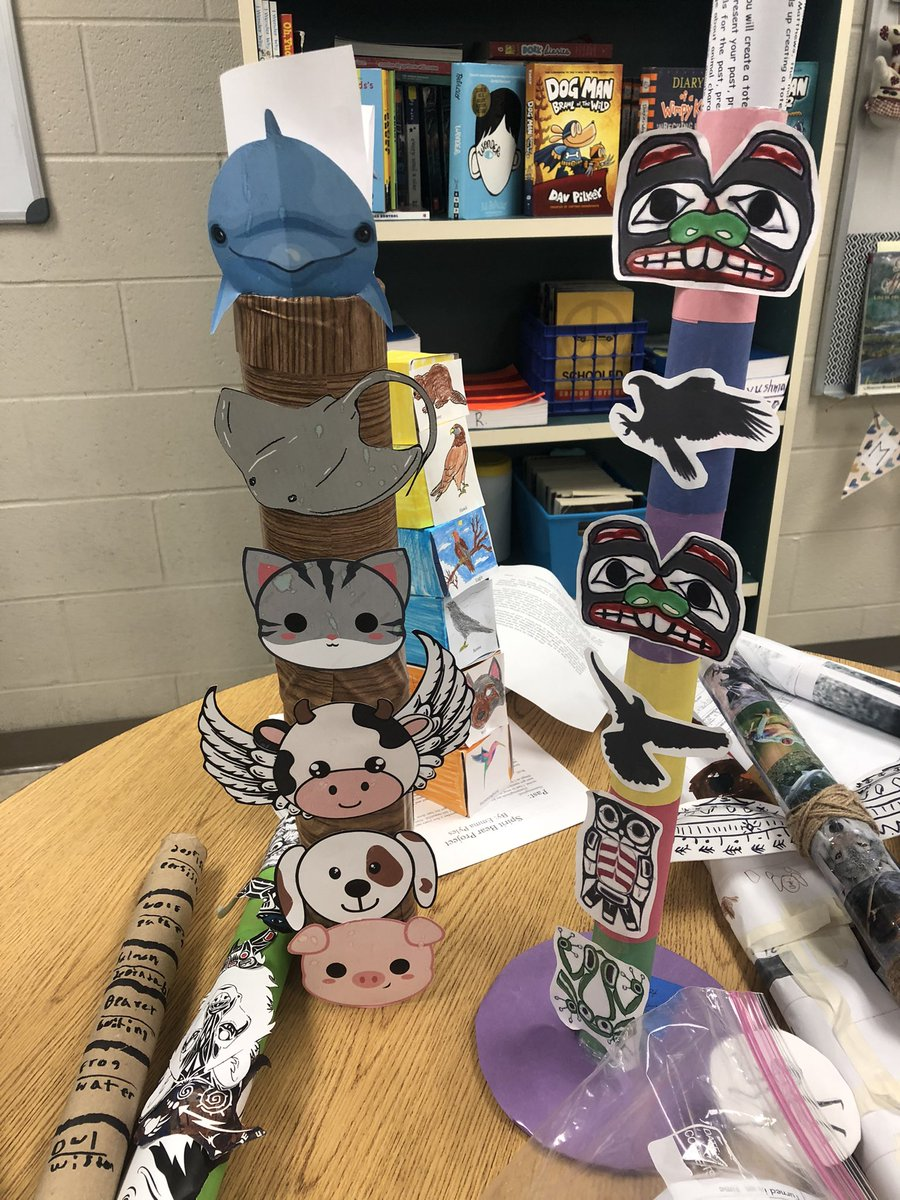 Just a few of our totem poles representing each students past, present and future. #harmonheroes #touchingspiritbear #amazing #youmakeusproud @KJamesHMS @MrsN_PLSD @moore4minds @lyrics4learning #plsdproud