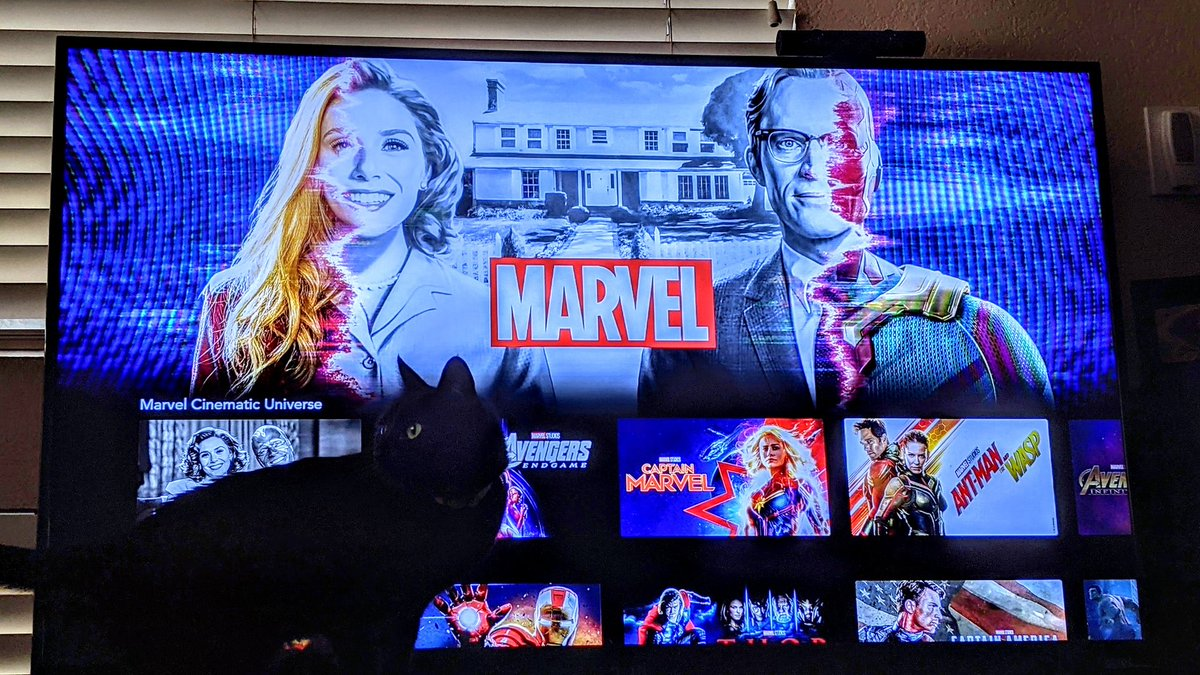 About to watch the premiere of #WandaVision on #DisneyPlus. Can you believe its been 563 days without any new #MCU content? Look for our spoiler free impressions on the next episode, out on Monday 1/18/21. #Disney #Marvel #TVShow #Nerd #Catdad #Avengers #DTFpod #Podcast #TGIF