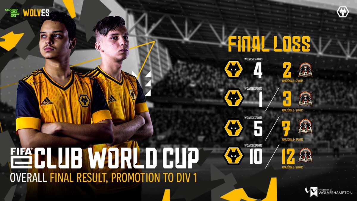 This week, we managed to reach the final of division 2 🔥 We unfortunately lost but promoted to division 1 💪 Let's go @Fifilza7 @FelipeeAbd   #wolvesesports #FIFAeClubWorldCup
