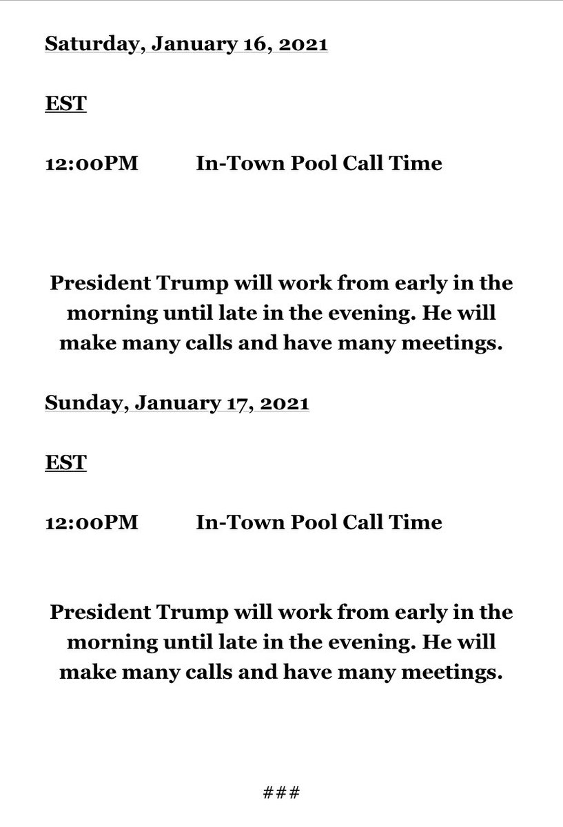 Trump's schedule during his last weekend as president