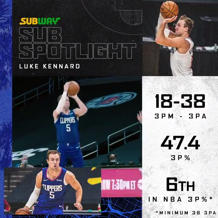 Replying to @LAClippers: .@LukeKennard5 servin' up a nutritious helping of threes.  📈  Sub Spotlight pres. by @SUBWAY