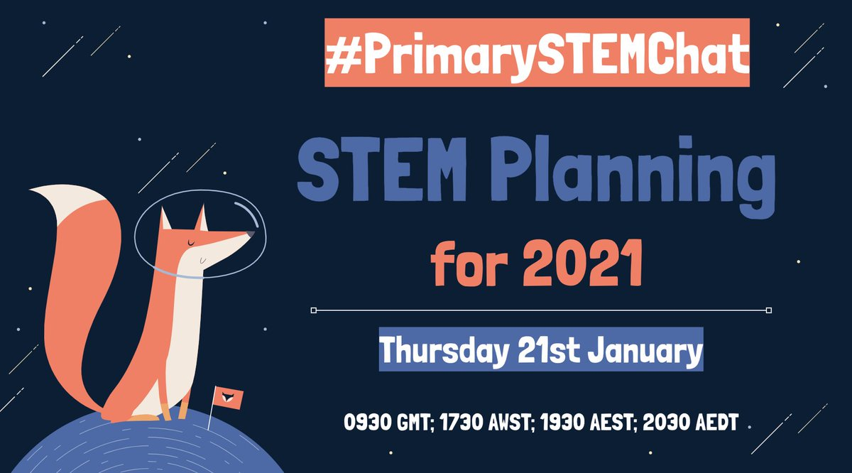 And we're back!  Join us on Thursday for the 1st #PrimarySTEMChat of 2021 as we talk #STEM Planning for the year ahead. Everyone is welcome - tag all your friends! 🤩  @NzWaikato @EdChatEU @RayBoyd007 @STEAMuptheClsrm @teacherasleader @SportandiAndres @KatKennewell @harkinworld
