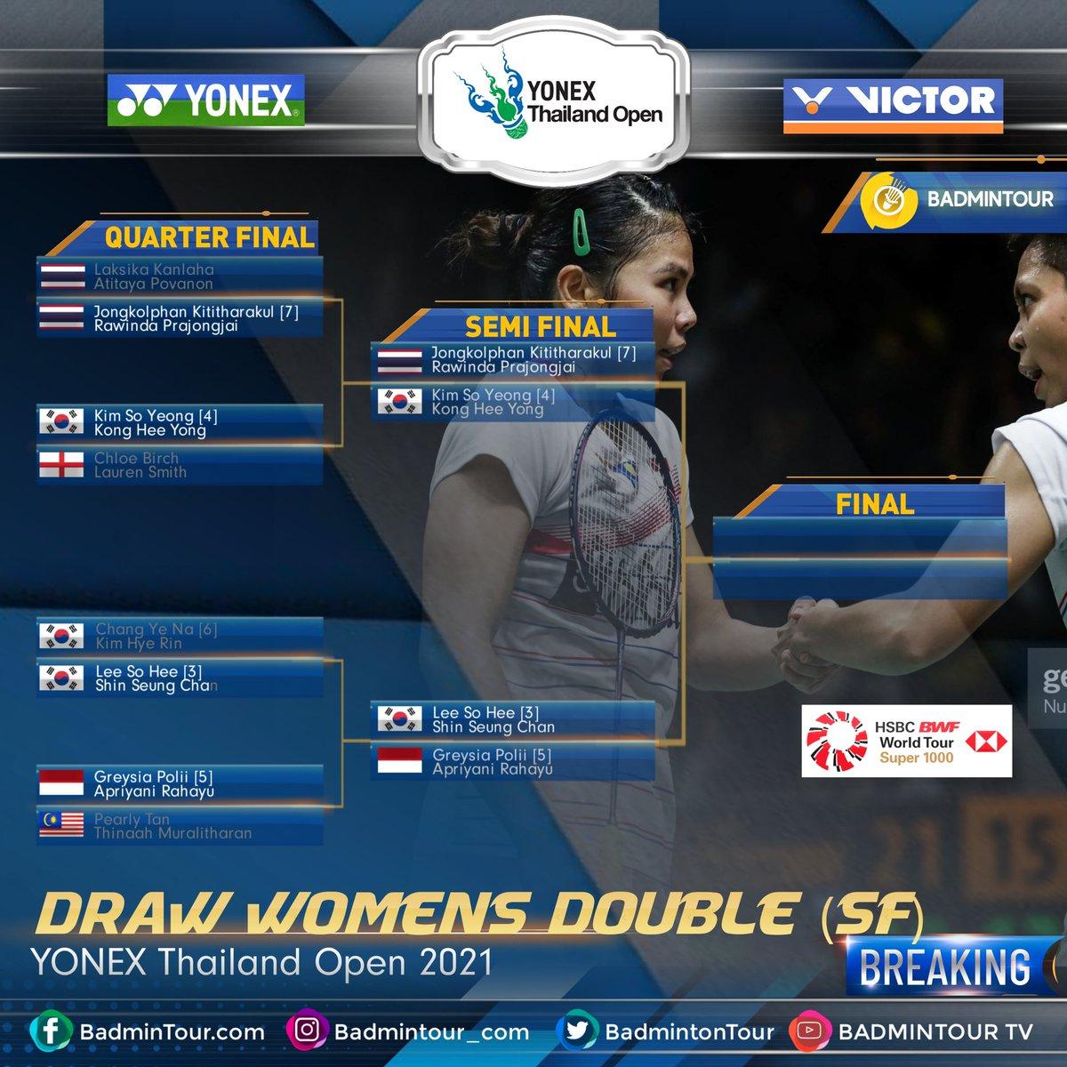 BREAKINGGGG😍😍😍 #YonexThailandOpen  Here Are LIST DRAWING (SEMI FINAL) (Womens Double) YONEX Thailand Open 2021 (HSBC BWF World Tour Super 1000 https://t.co/cNovgawbyV