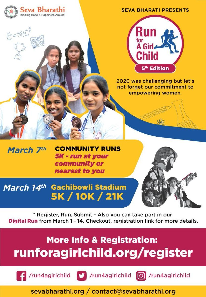The world is hers for the taking  @run4agirlchild is back with its 5th edition. Registrations open @  #WomenEmpowerment #KishoriVikas #Sevabharathi #RunSafeRunHappy #runningcommunity #GrlPwr