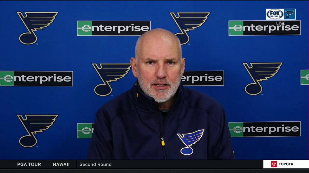 """Doug Armstrong says the #stlblues plan to carry the maximum six taxi squad players on most road trips: """"When you see what COVID can do, how it can grab a team if you lose two or three players — we want to have competent replacements available with us."""""""