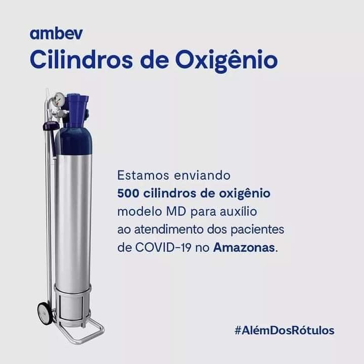 PARABÉNS AMBEV 👏  A expectativa é de que os 500 cilindros cheguem na manhã deste sábado (16) em Manaus. A doação também conta com o apoio da fabricante de embalagens Ball. Todo nosso apoio e solidariedade ao povo Manauara neste momento. #OxigênioParaManaus