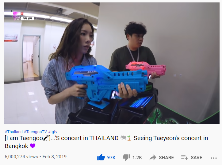 👑 Taeyeon's 's Concert in Bangkok vlog hit 5 million views! It's the first TaengooTV video to reach 5 million views 🤩    📺  #Taeyeon #태연 #탱구티비 #TaengooTV 😘