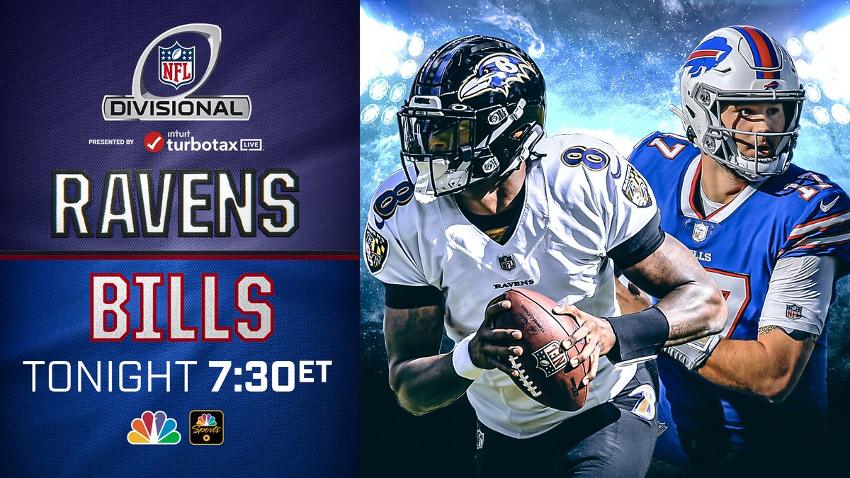 Tonight, don't miss @Ravens take on @BuffaloBills in the #DivisionalRound 7:30/6:30c on @SNFonNBC. #BALvsBUFF